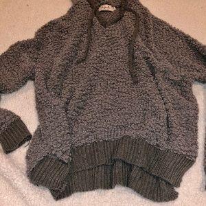 Gray popcorn hooded sweater